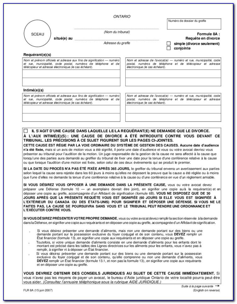 Divorce Forms Ontario 25a