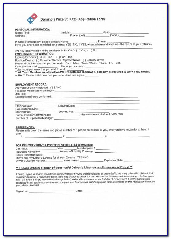 Dominos Jobs Application Form Online India