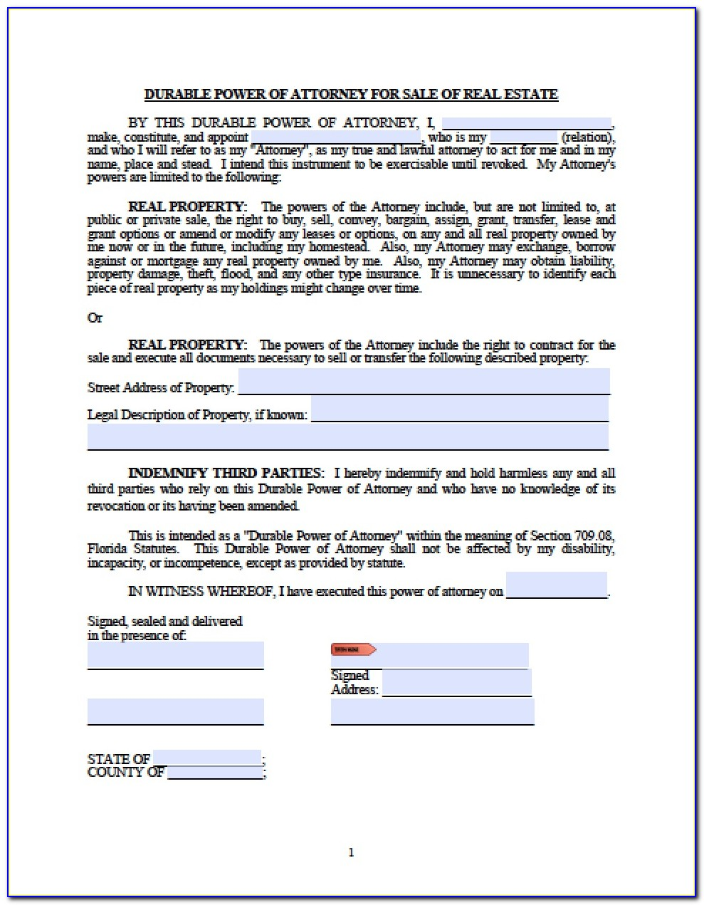 Durable Power Of Attorney Florida Sample