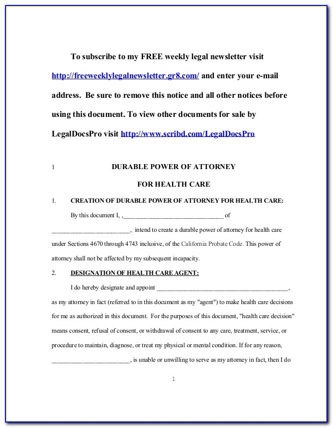 Durable Power Of Attorney For Health Care Form Illinois