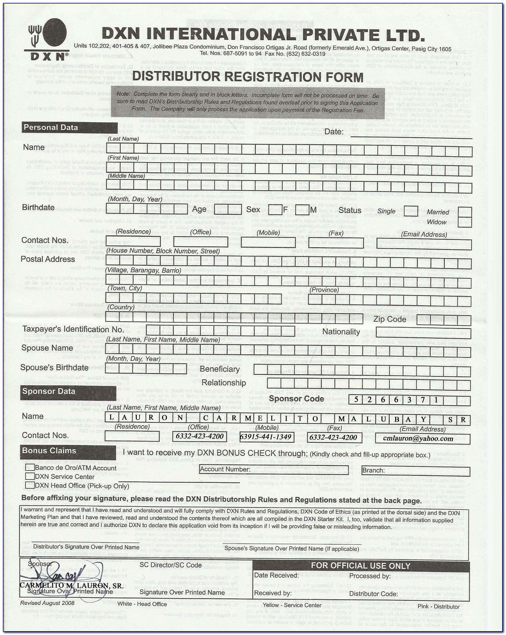 Dxn Membership Form Download