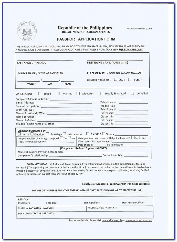E Passport Renewal Form Philippines