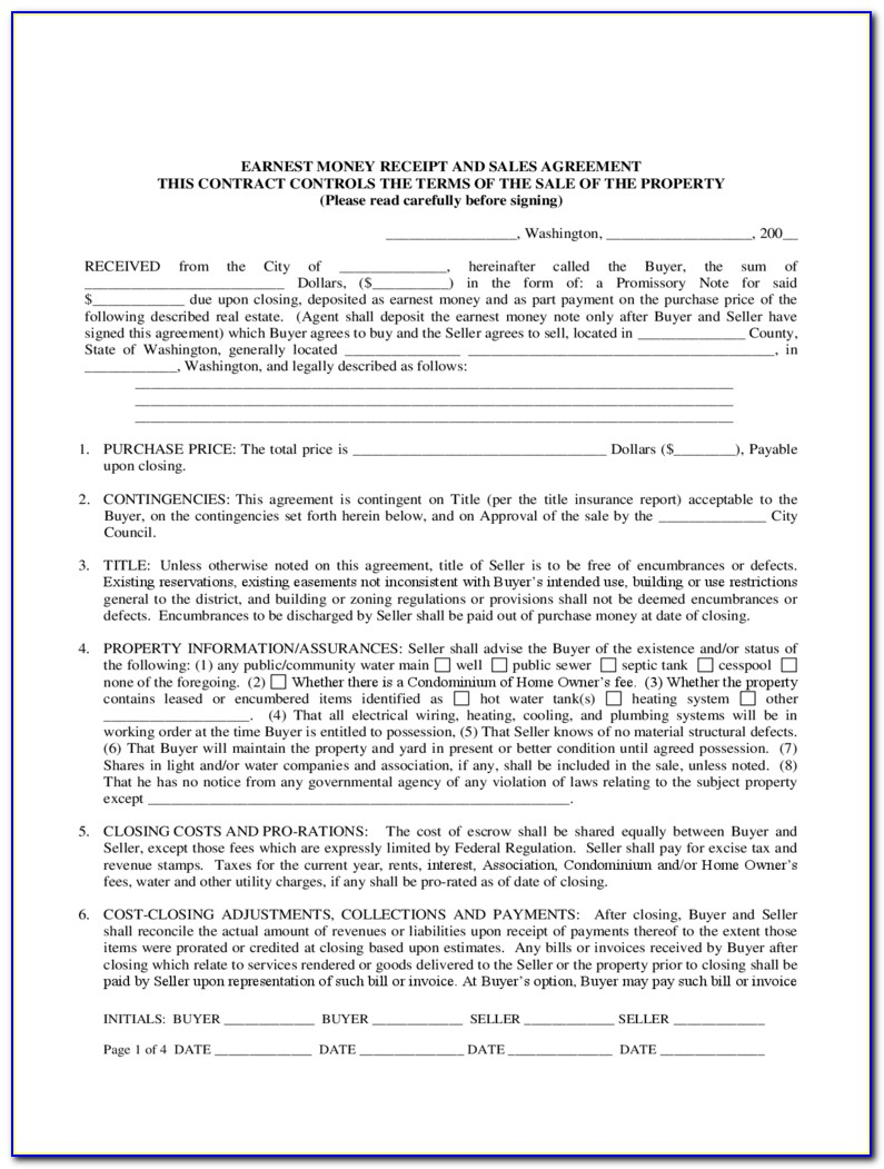 Earnest Money Agreement Form Free Download