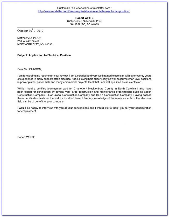 Electrician Job Application Letter Sample