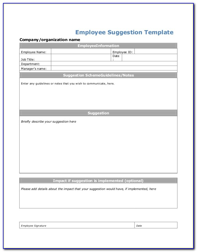Employee Suggestion Form Example