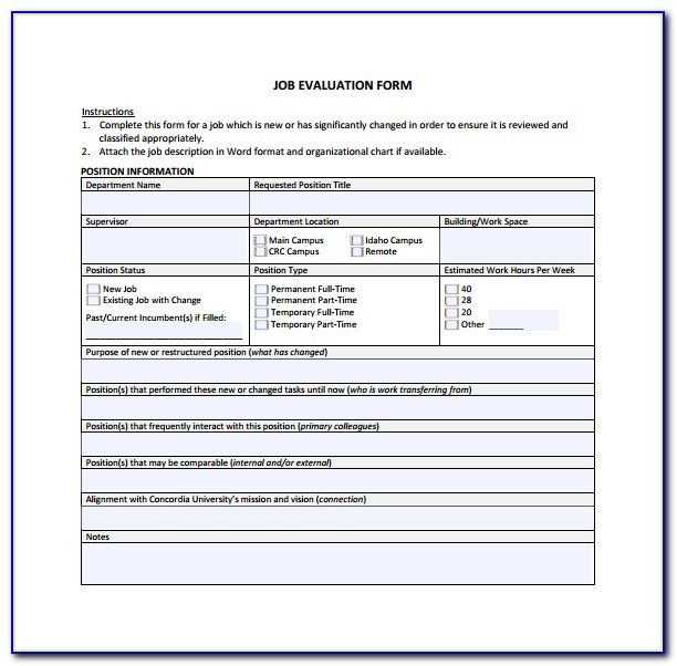 Employer Evaluation Form Template