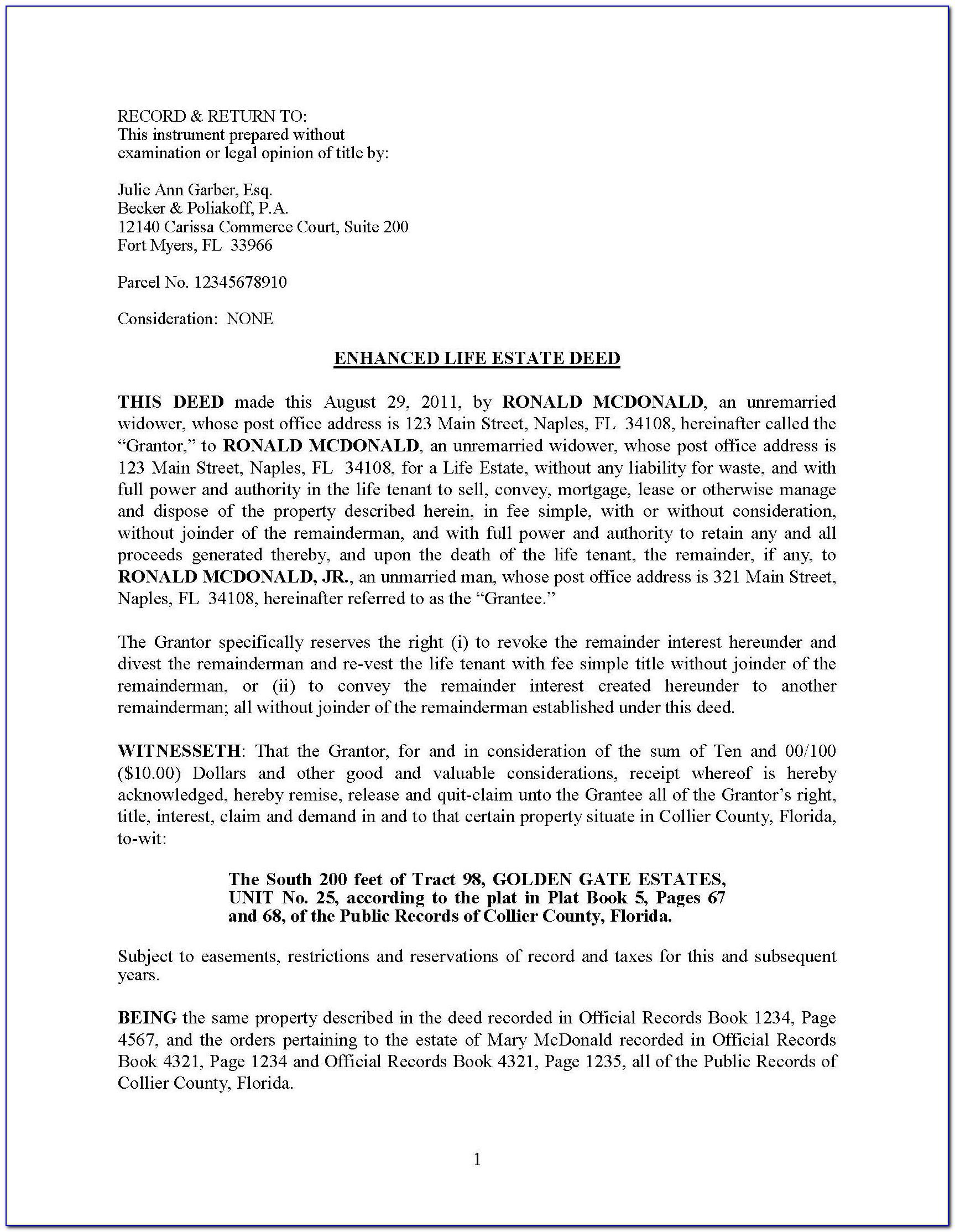 Enhanced Life Estate Deed Form Florida