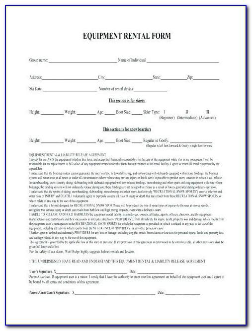 Equipment Lease Agreement Form Pdf