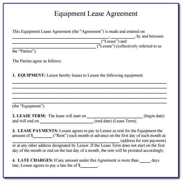 Equipment Rental Lease Agreement Form