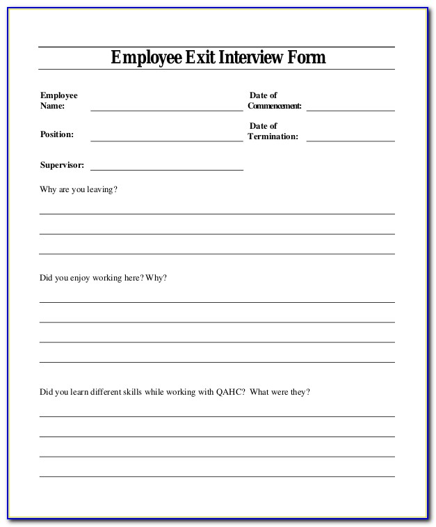 Exit Interview Questions Templates