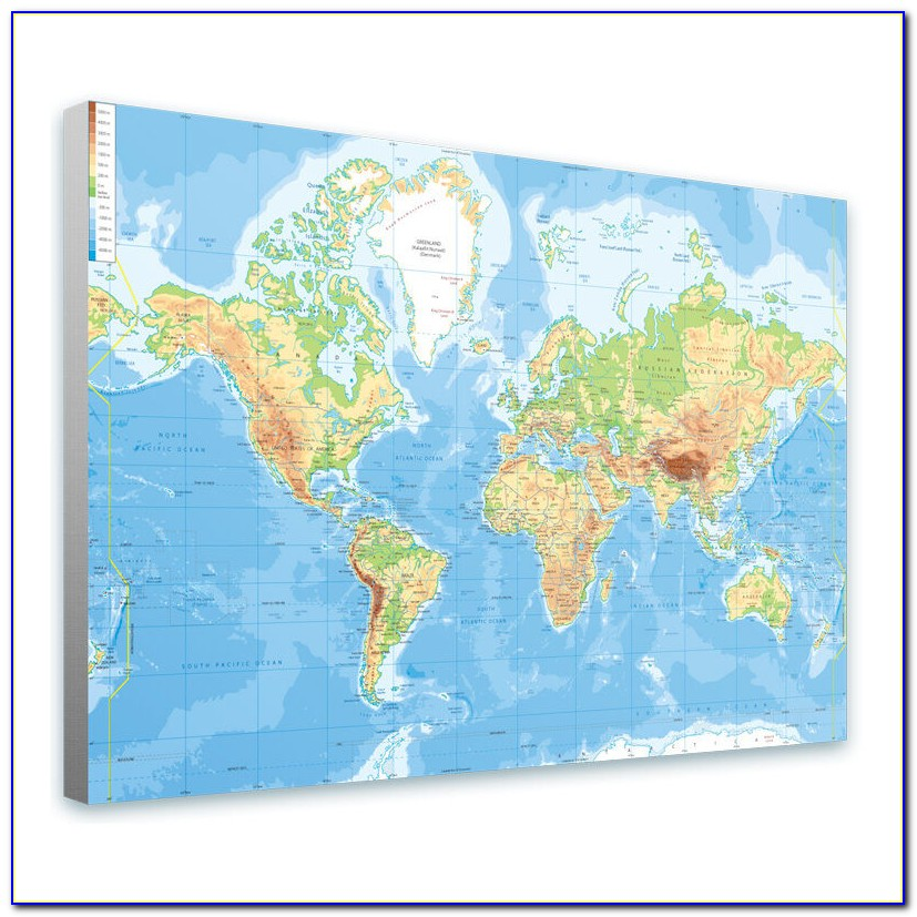 Extra Large World Map Canvas