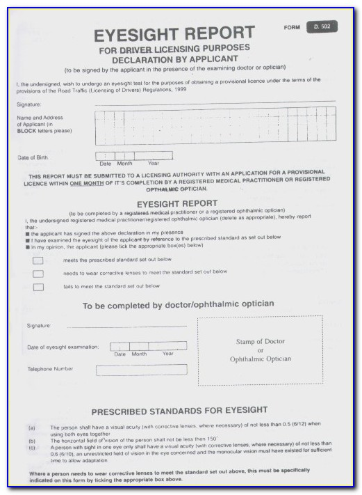 Eye Test Form For Driving License In Qatar