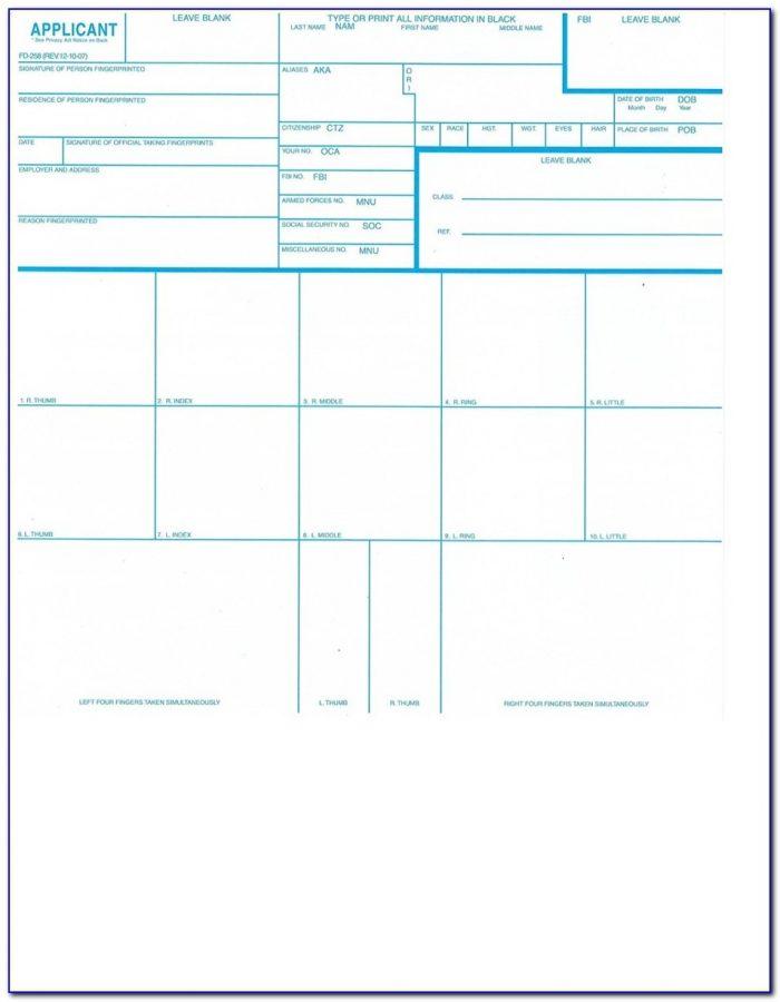 Fbi Standard Fingerprint Form Fd 258