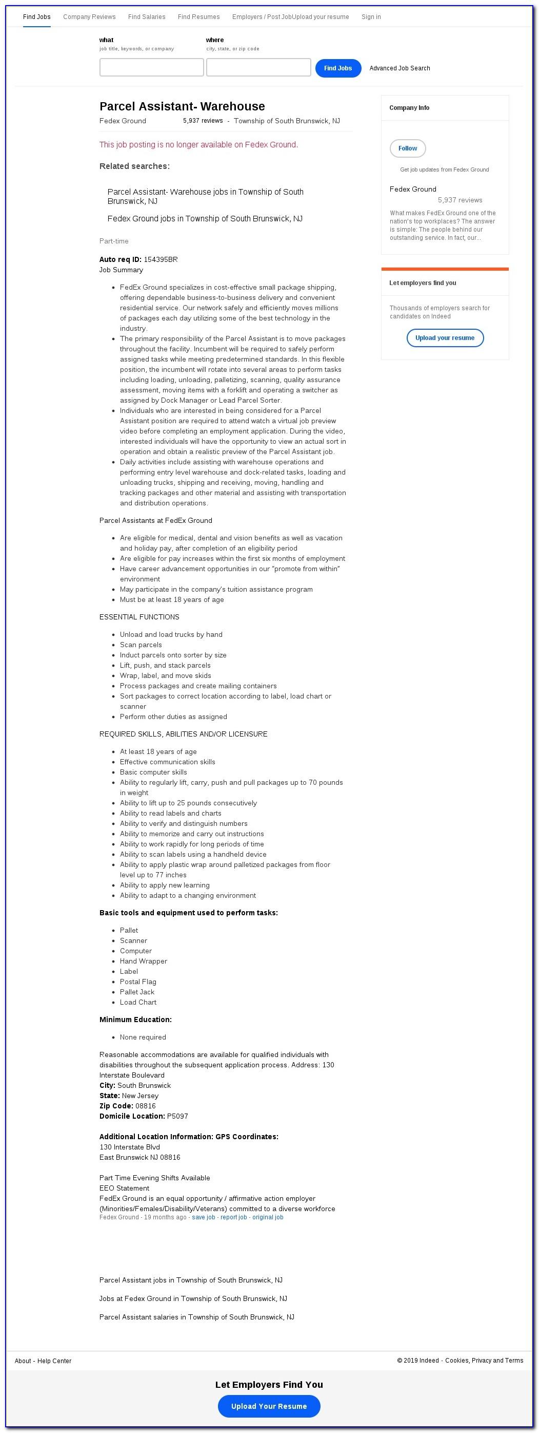 Fedex Ground Package Handler Job Application