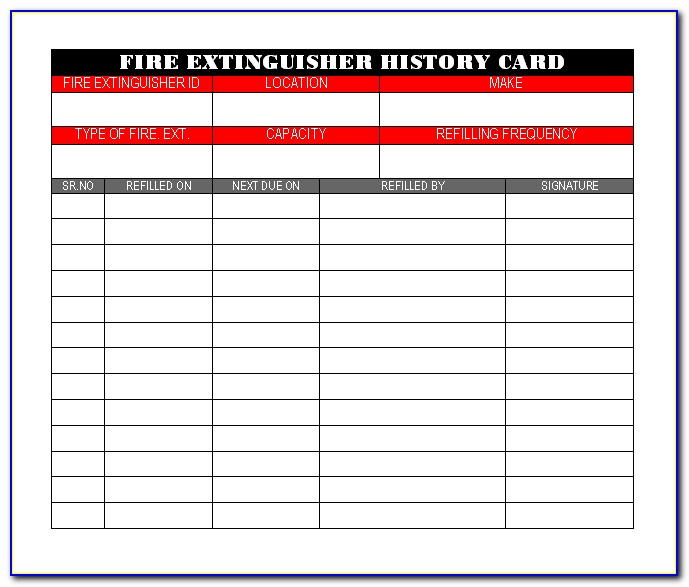 Fire Extinguisher Monthly Inspection Forms