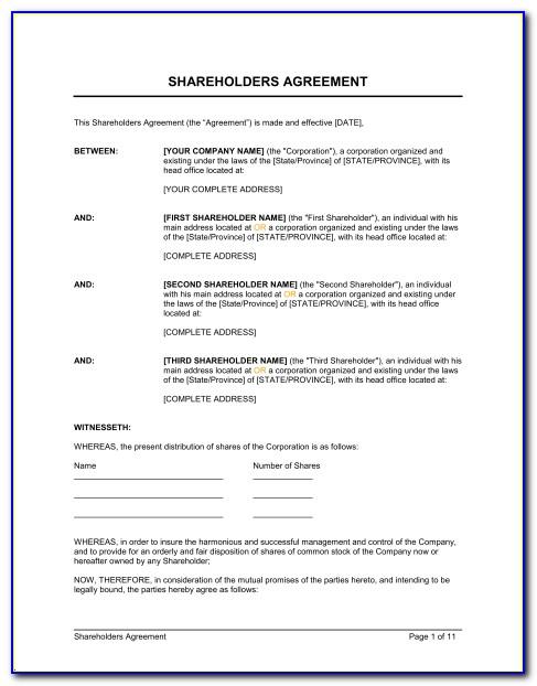Florida Shareholders Agreement Form