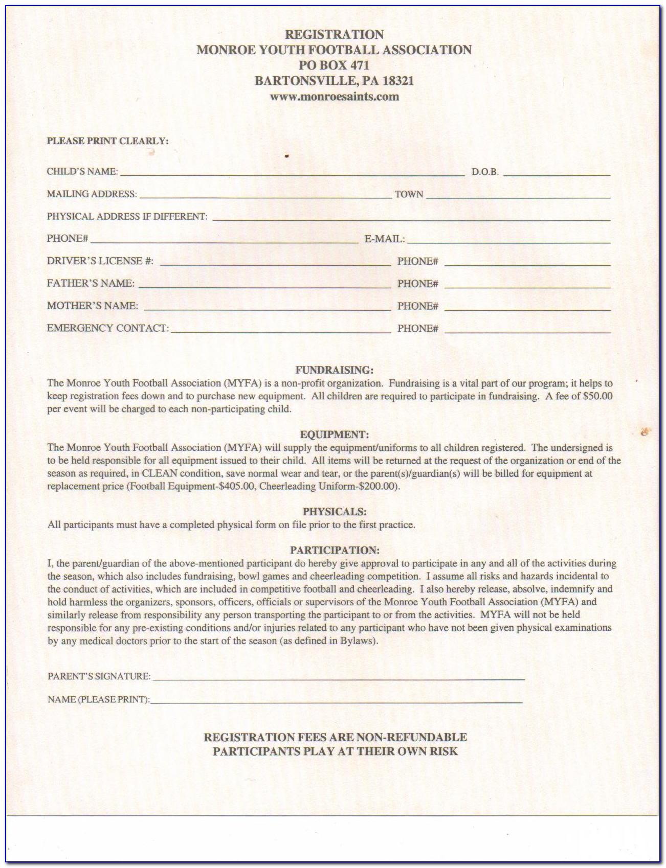Football Club Registration Form Template