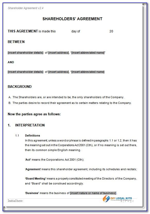 Formal Shareholders Agreement