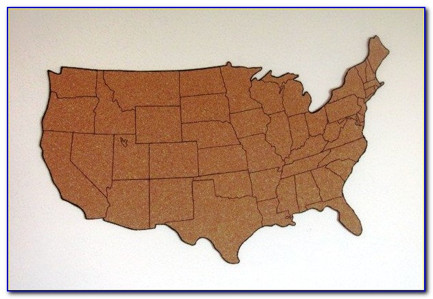 Framed Cork Board Us Map