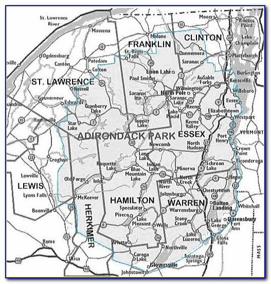 Framed Map Of The Adirondacks