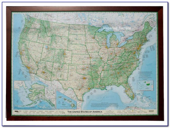 Framed Map Of The United States With Pins