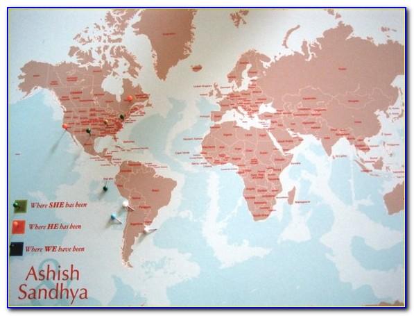 Framed Pinnable World Map