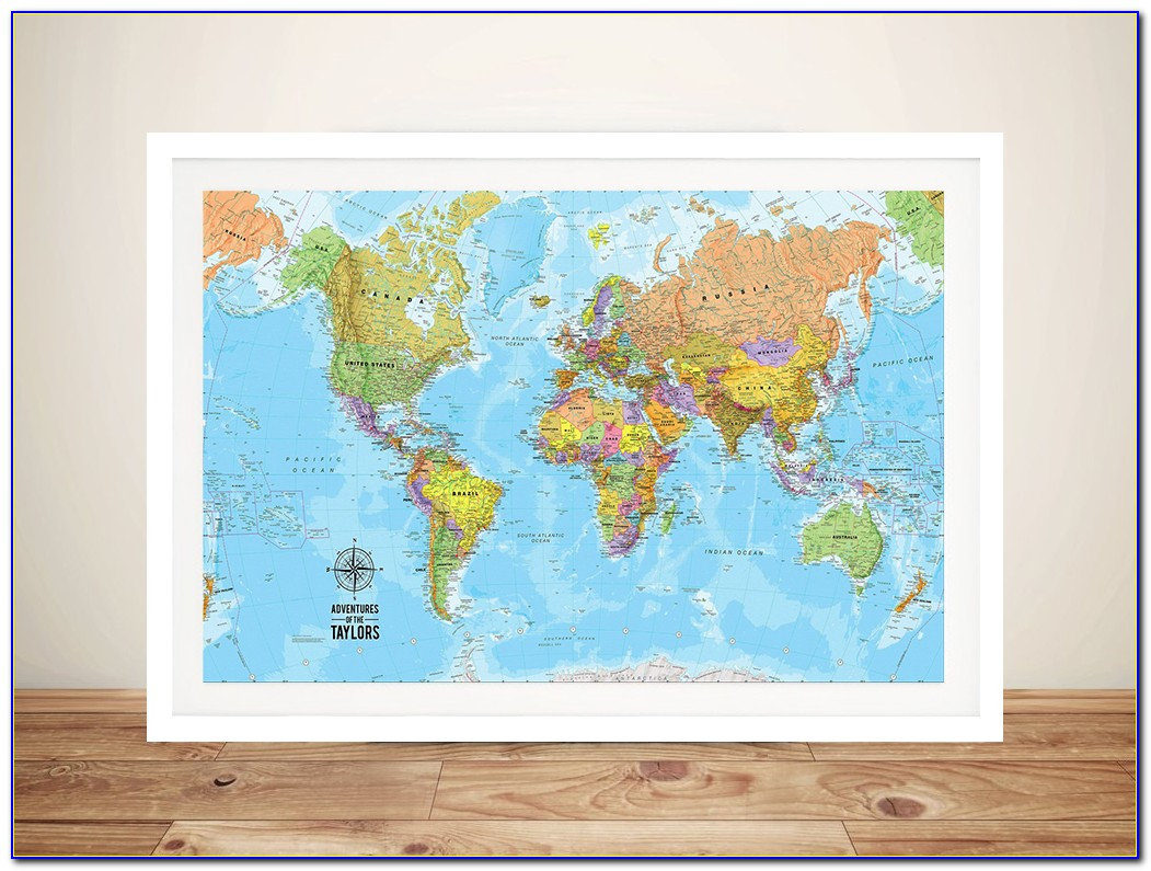 Framed World Map With Magnetic Pins