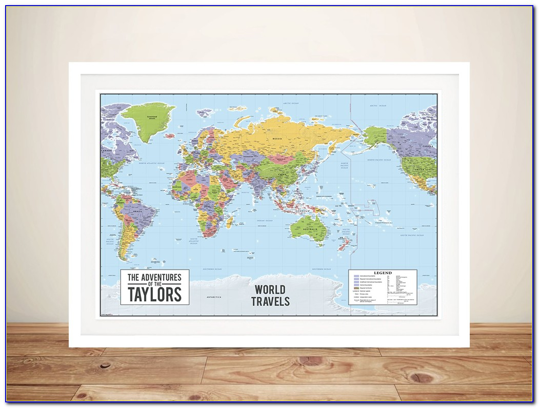 Framed World Map With Pins Australia