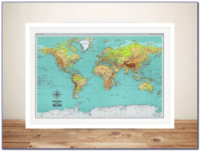 Framed World Map With Pins Uk