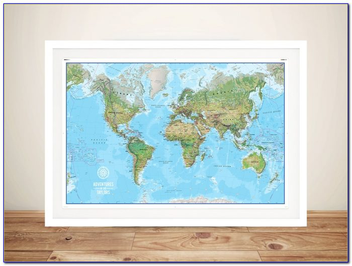 Framed World Map With Push Pins Canada