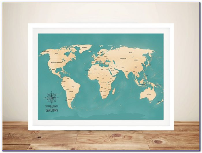Framed World Travel Map With Pins
