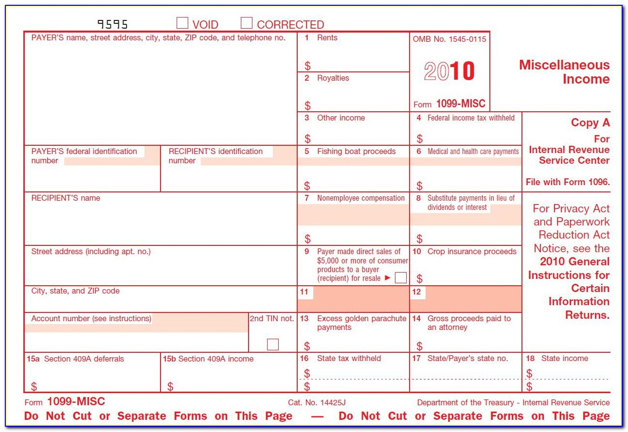 Fillable 1099 Misc Form 2015