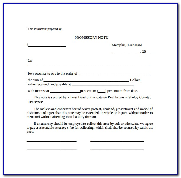 Free Blank Promissory Note Forms