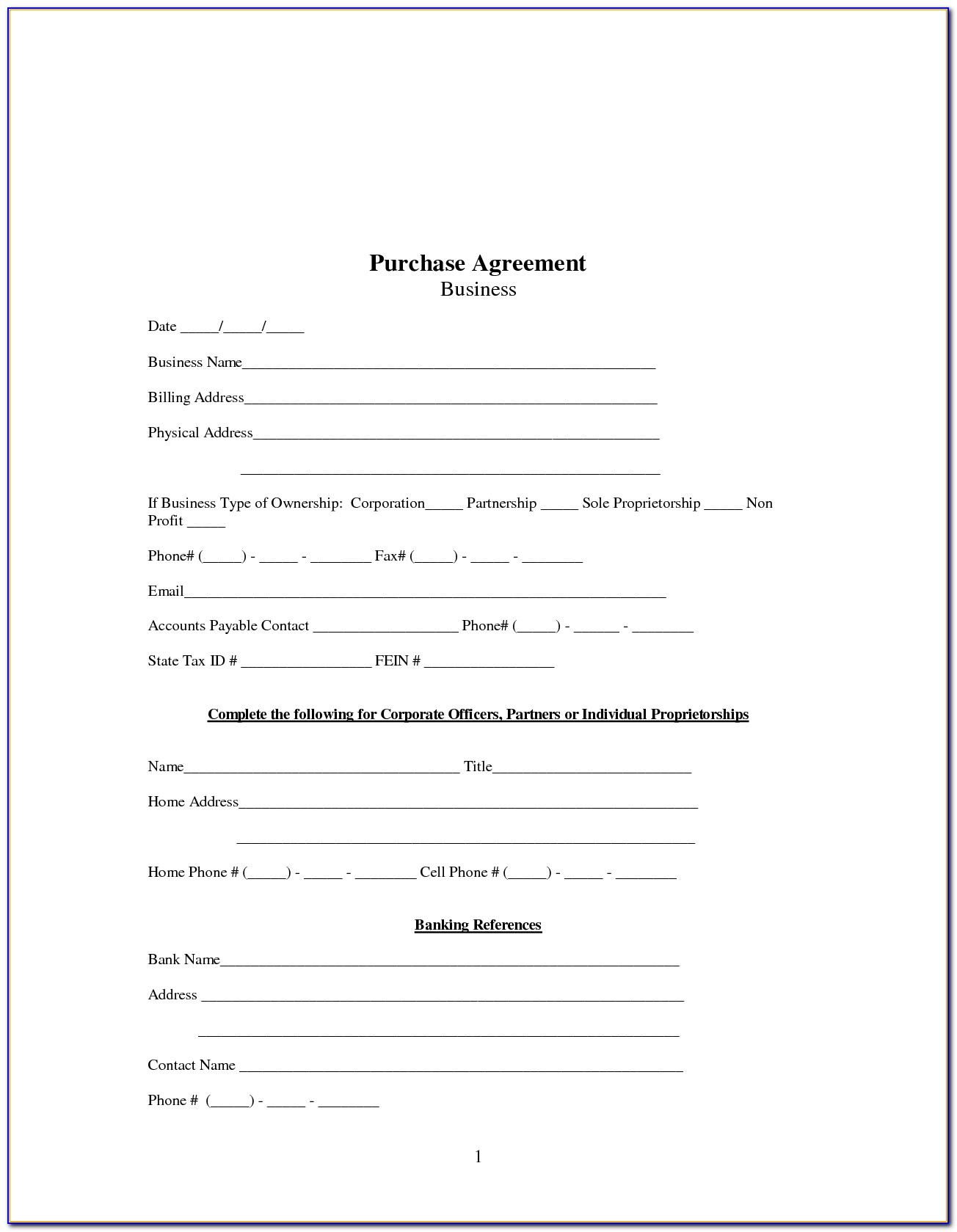 Free Business Purchase Agreement Form