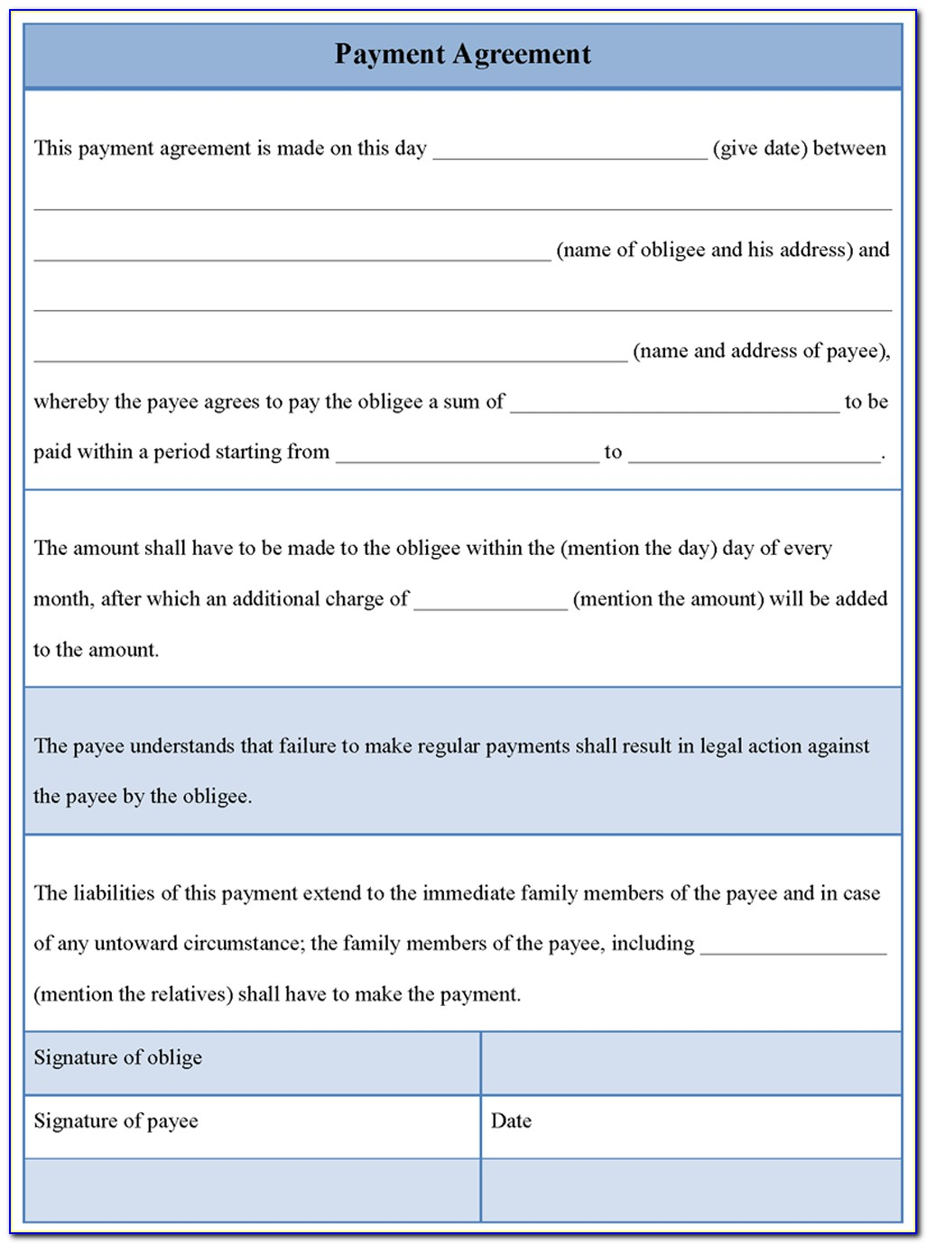 Free Car Payment Agreement Form