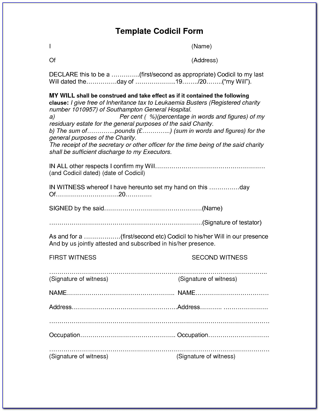 Free Codicil Form For Will