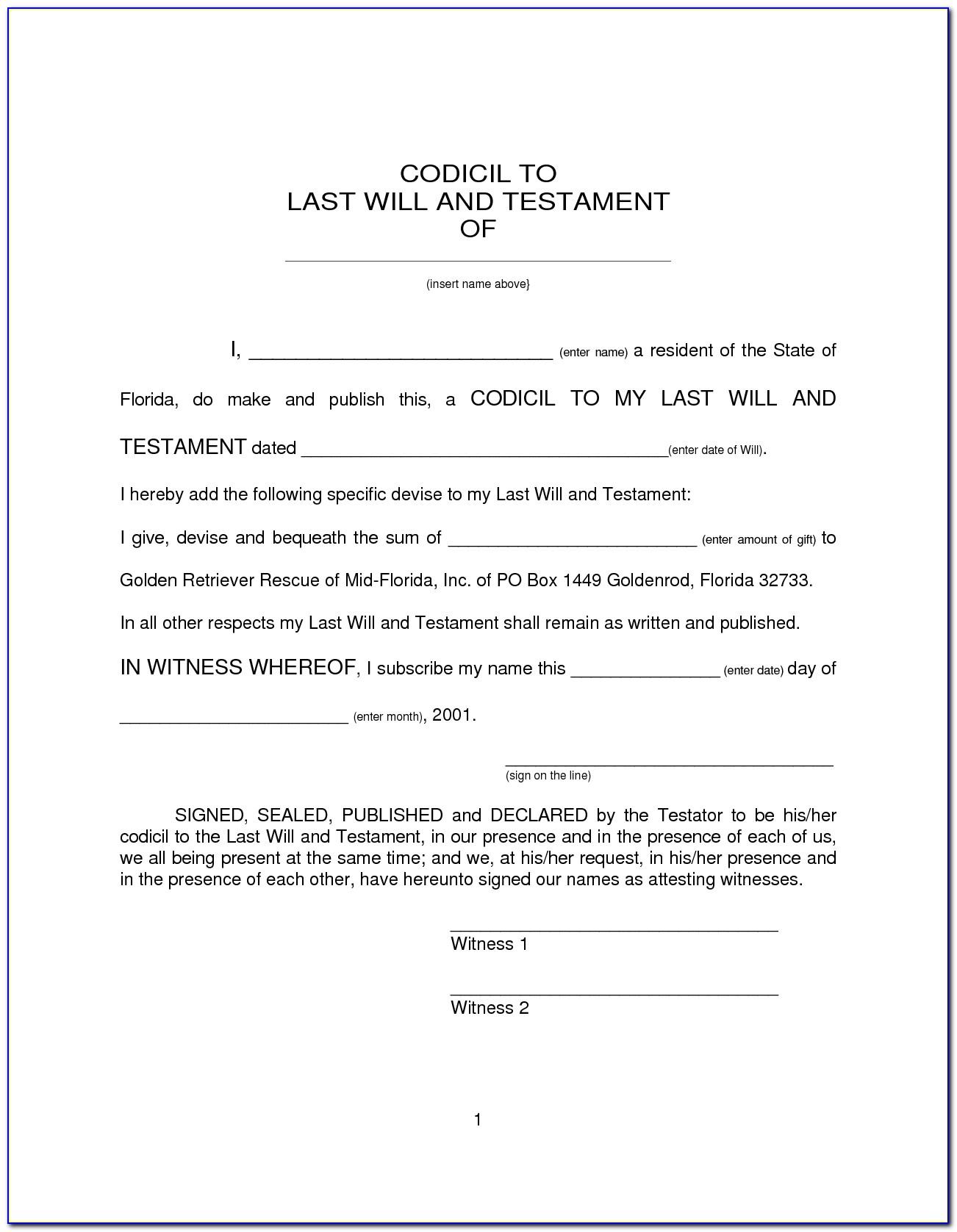 Free Codicil Form Ontario Canada