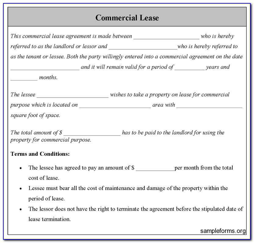 Free Commercial Gross Lease Form