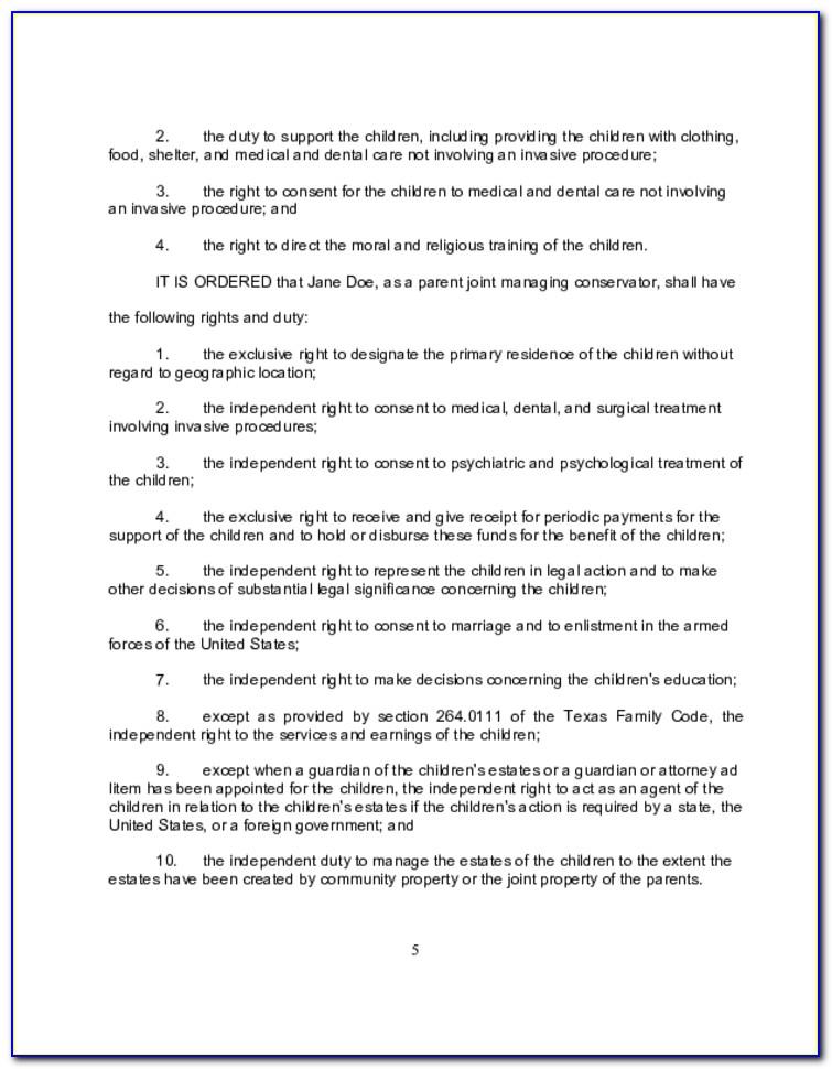 Free Divorce Decree Form Texas