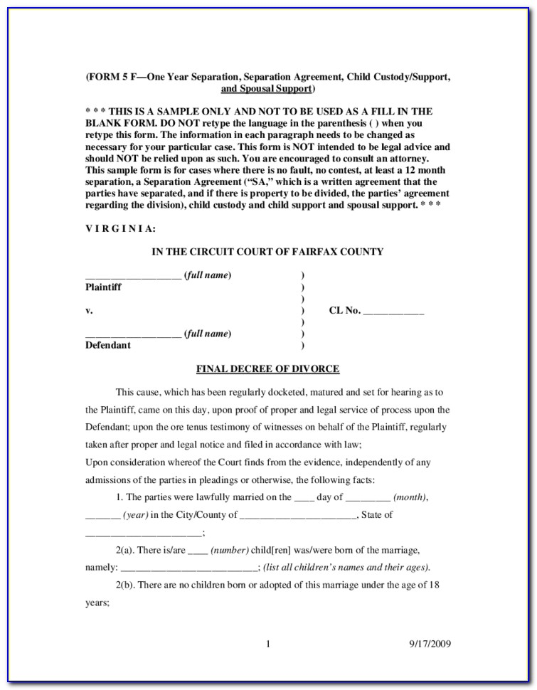 Free Do It Yourself Divorce Forms In Virginia