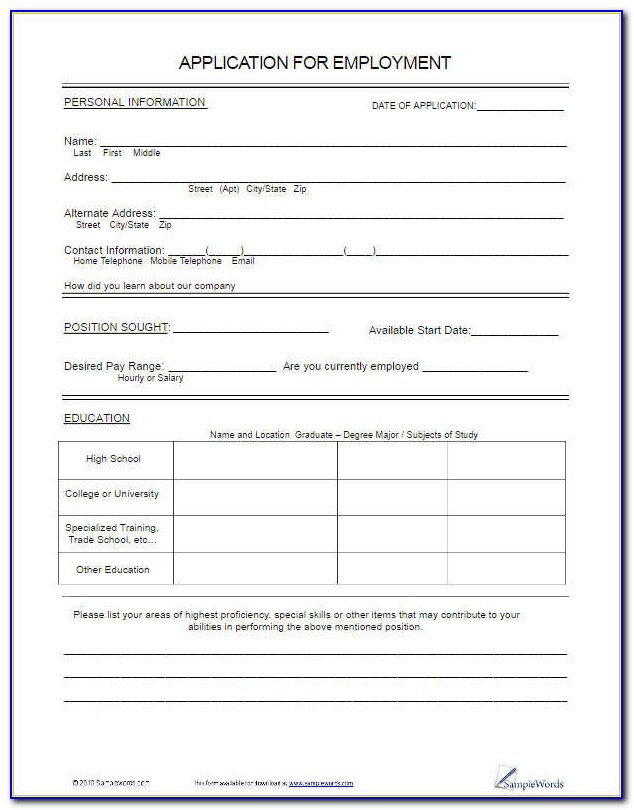 Free Employment Application Form Template Form Resume