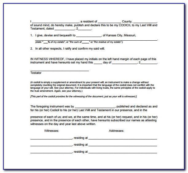 Free Fillable Codicil Form