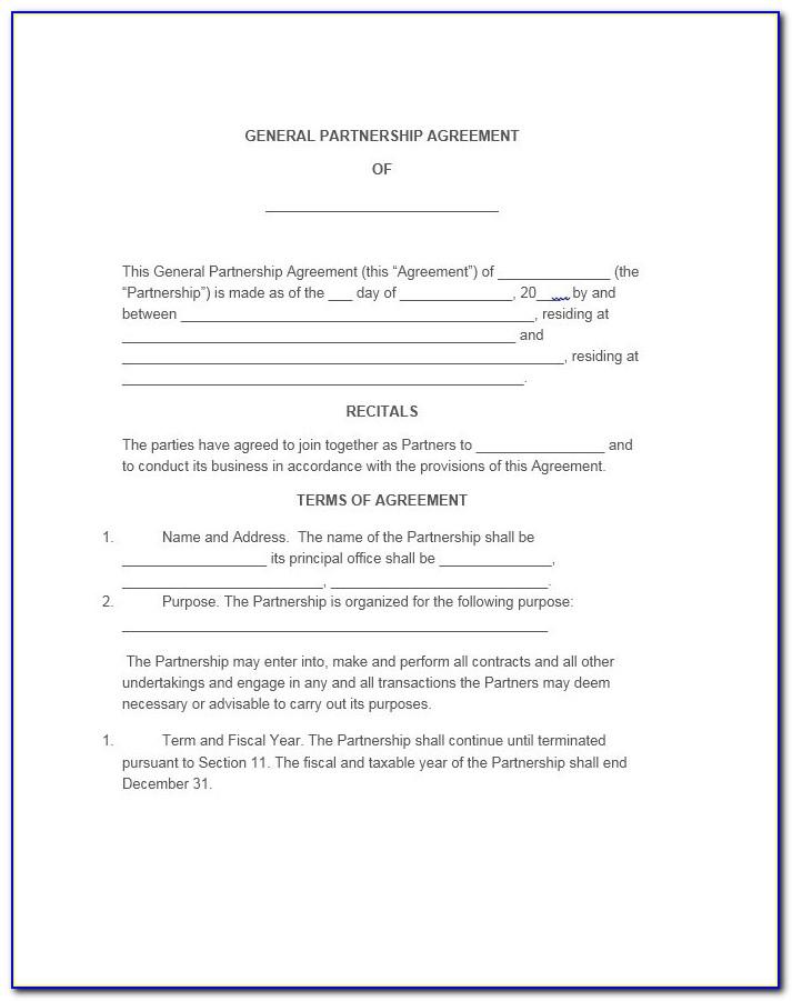 Free General Partnership Agreement Form