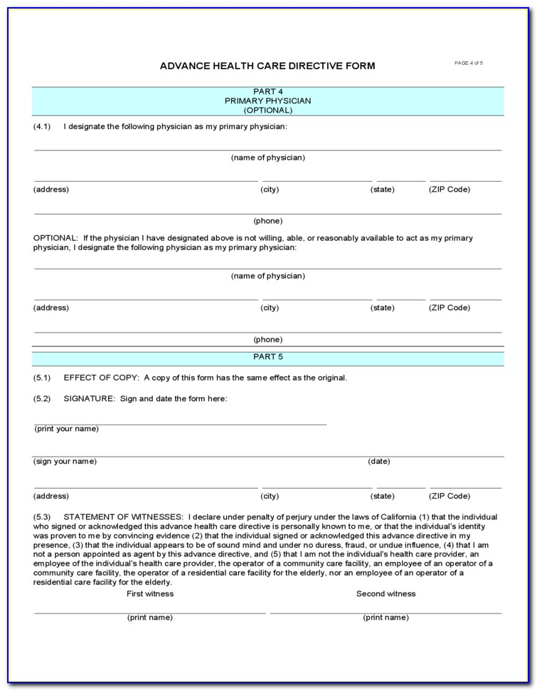 Free Health Care Directive Form California