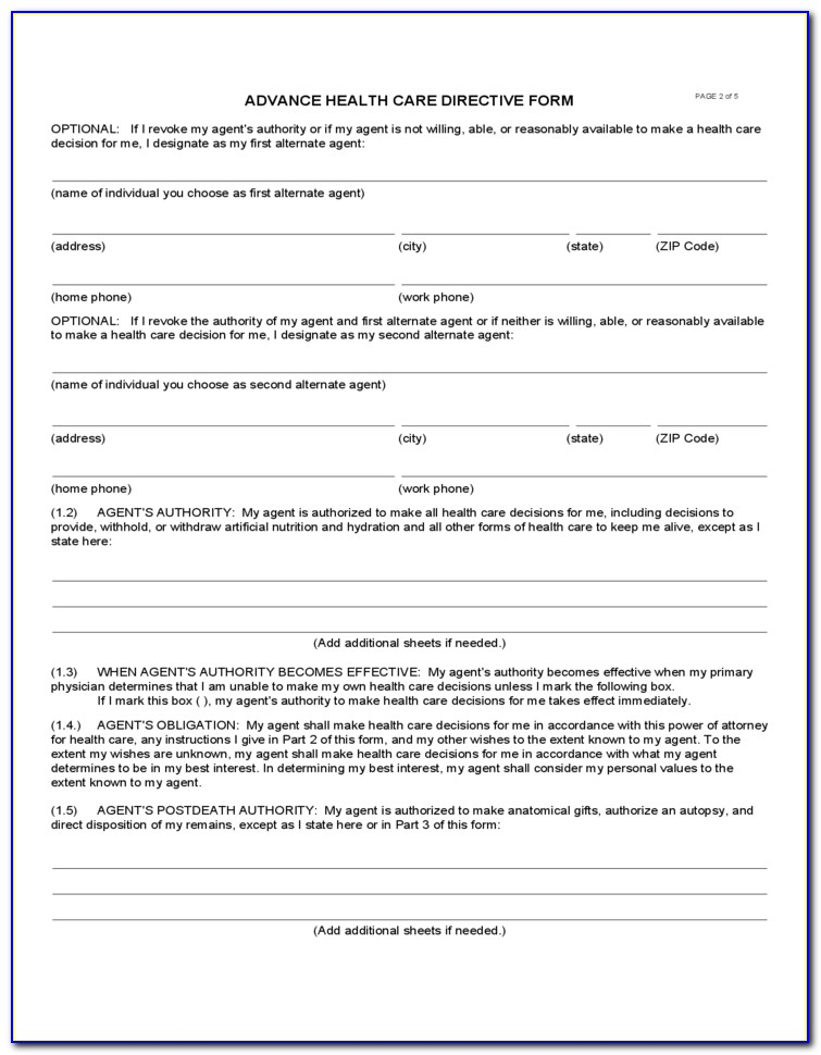 Free Health Care Directive Form Mn