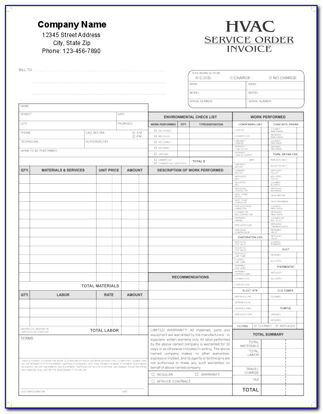 Free Hvac Forms Templates