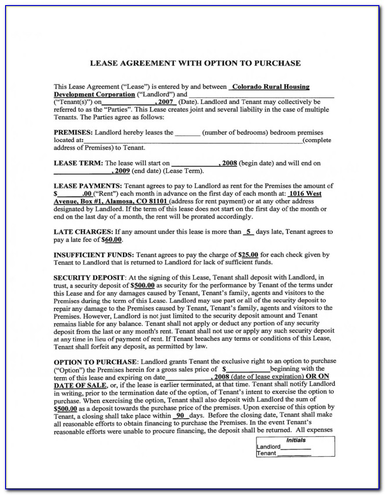 Free Lease To Purchase Option Agreement Form