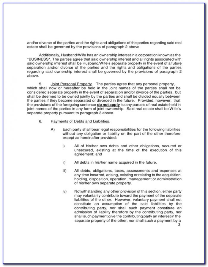 Free Legal Forms Postnuptial Agreement