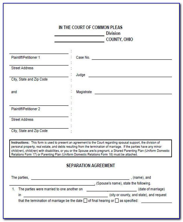 Free Legal Separation Forms Colorado