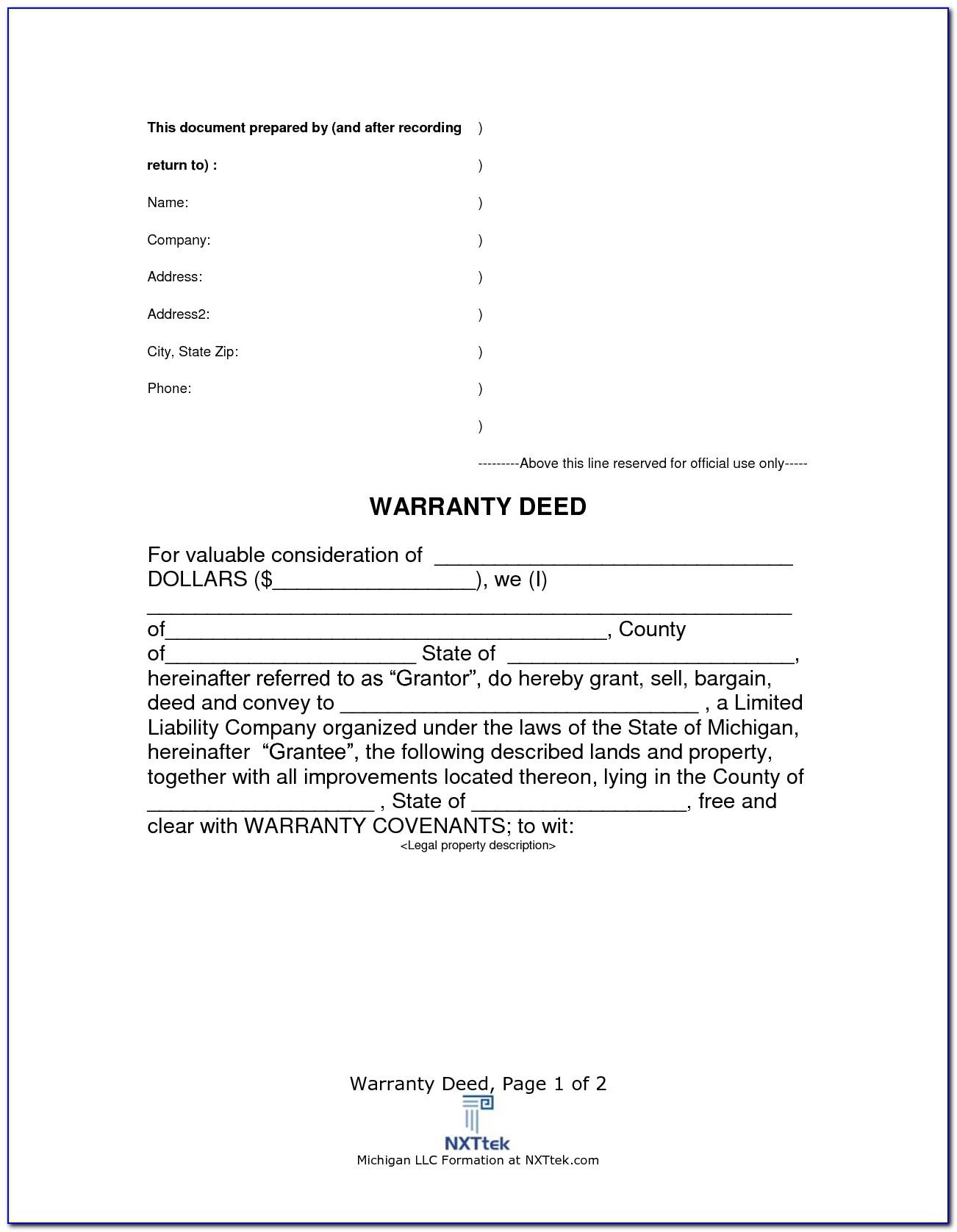 Free Life Estate Deed Form